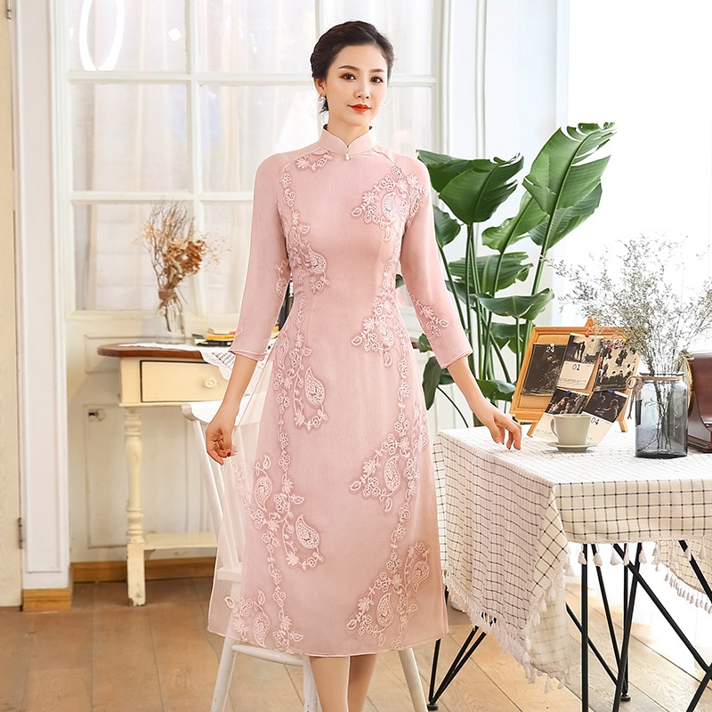 Enchanting Embroidery Chiffon Qipao Cheongsam Dress
