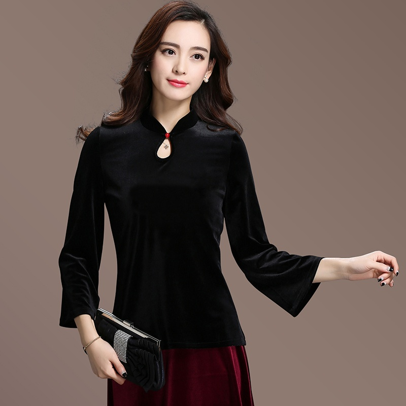 Excellent Black Velvet Chinese Qipao Cheongsam Shirt