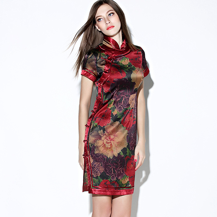 Splendid Peony Flowers Print Silk Qipao Cheongsam Dress
