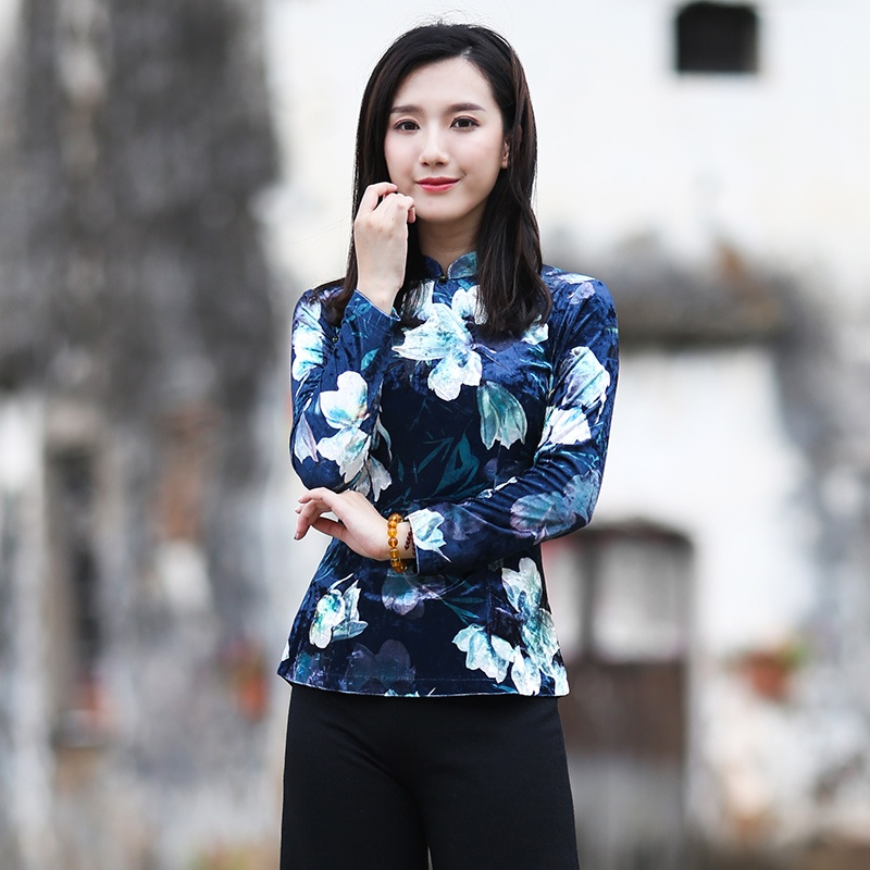 Pretty Print Thin Velvet Qipao Cheongsam Shirt