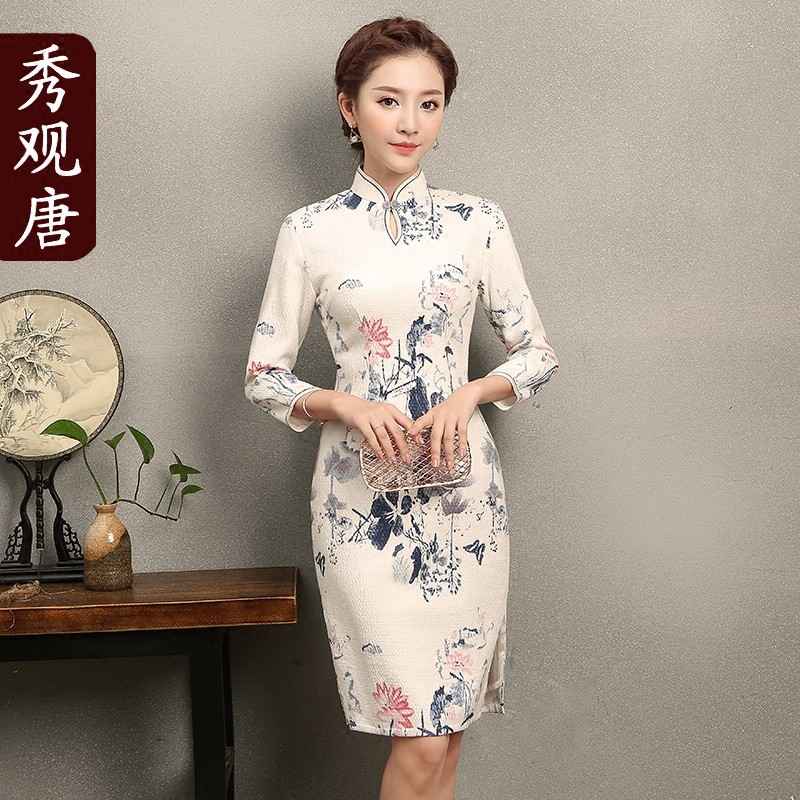 Appealing Print Short Cheongsam Qipao Chinese Dress