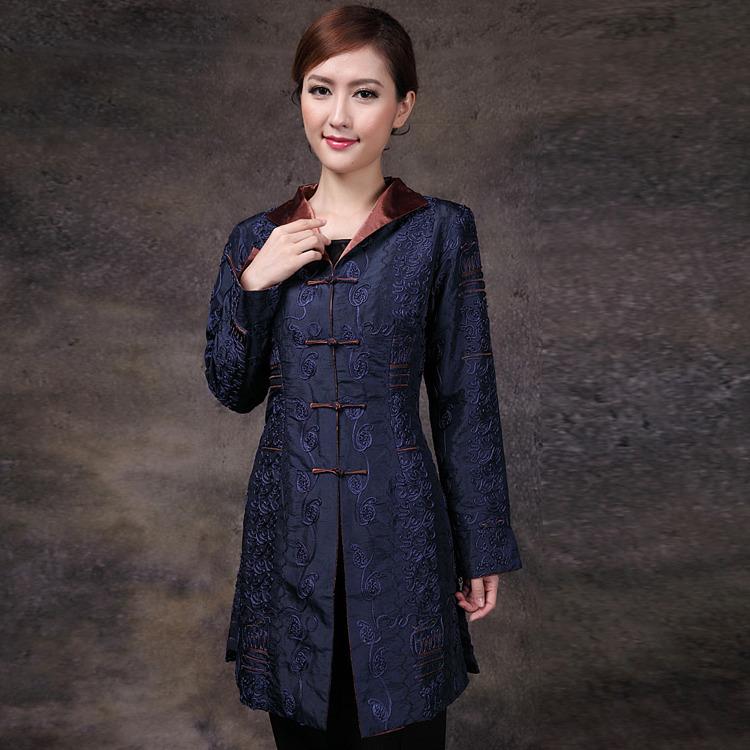 Mandarin Style Elegant Dark Blue Long Jacket