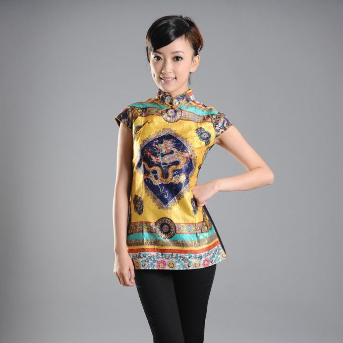 Happy Golden Dragon Cap Sleeve Blouse