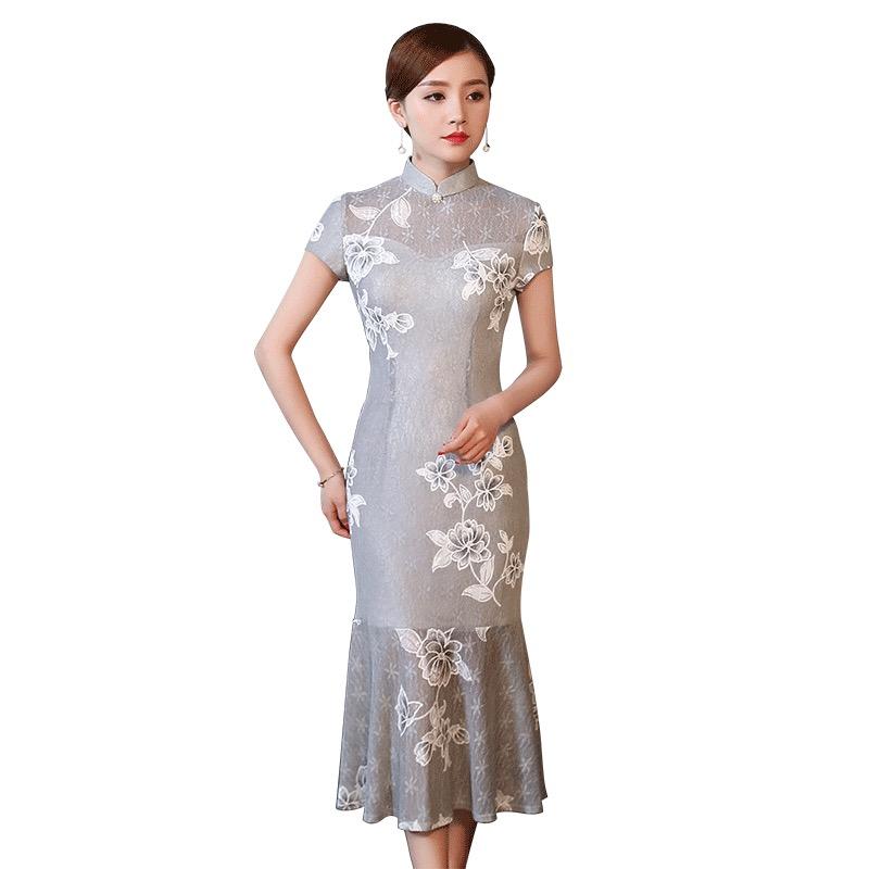 Pretty Lace Cheongsam Qipao Style Fishtail Dress