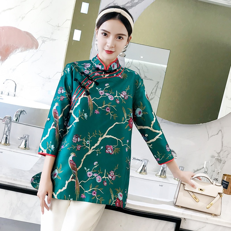 Pretty Floral Print Frog Button Qipao Cheongsam Coat