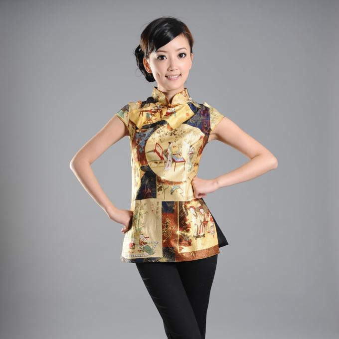 Traditional Family Paint Cap Sleeve Blouse