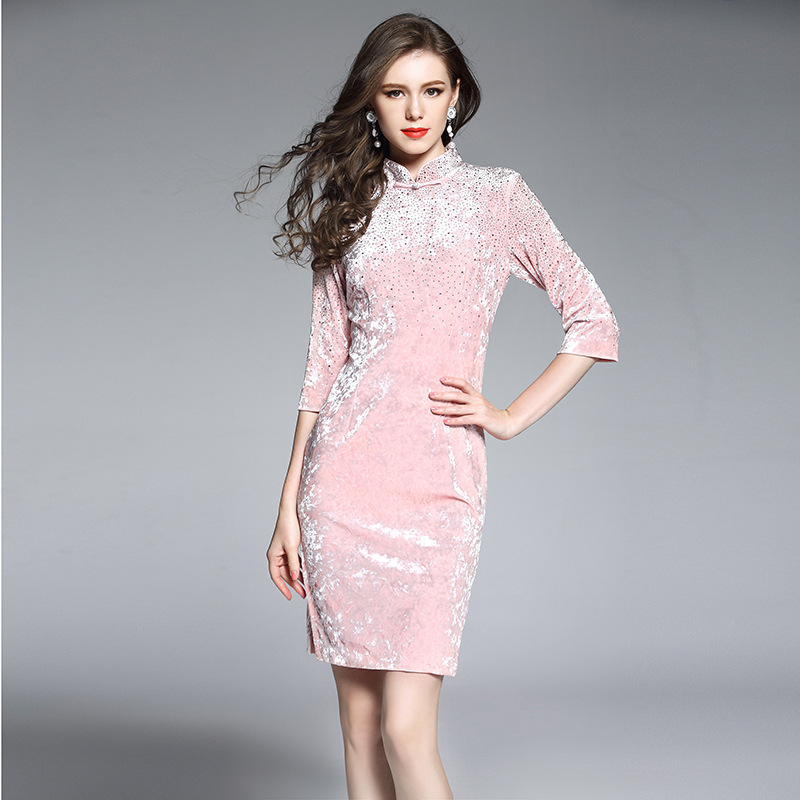 Excellent Beaded Chinese Dress Cheongsam Qipao - Pink