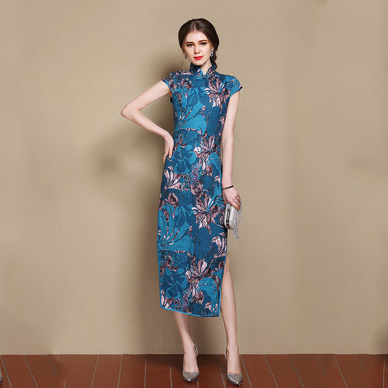 Mid-calf Chinese Qipao Cheongsam Dress With Floral Print