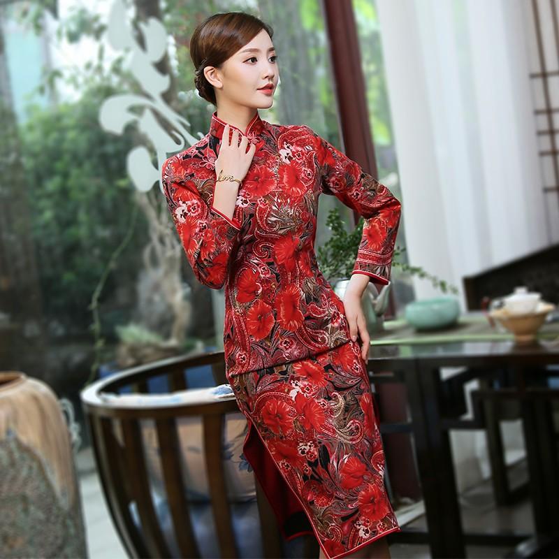 Wonderful Floral Print Qipao Cheongsam Chinese Dress