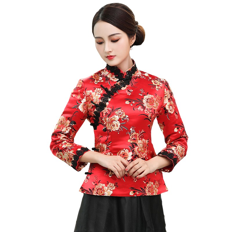 Pretty Red Brocade Frog Button Cheongsam Qipao Jacket