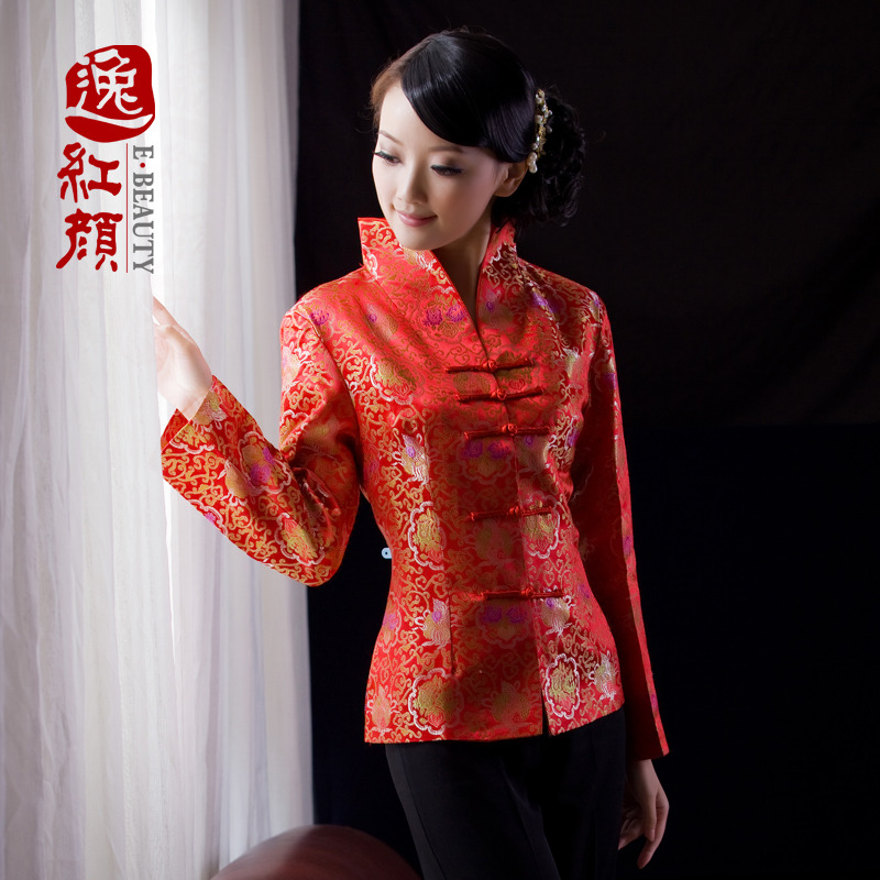 Golden Flowers Red Brocade Jacket