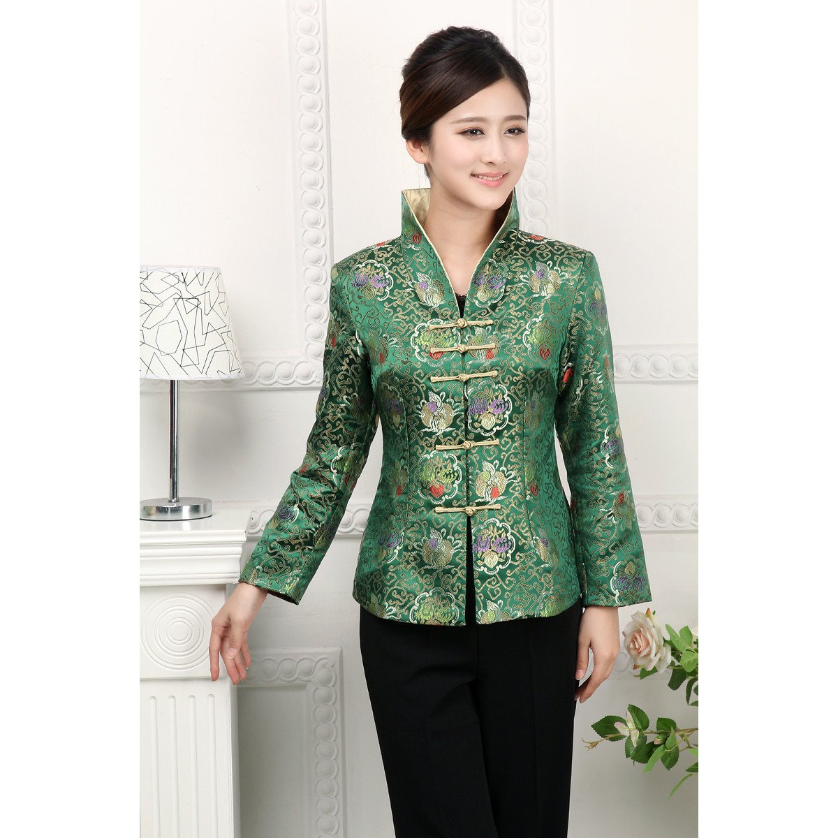 Golden Flowers Green Brocade Jacket