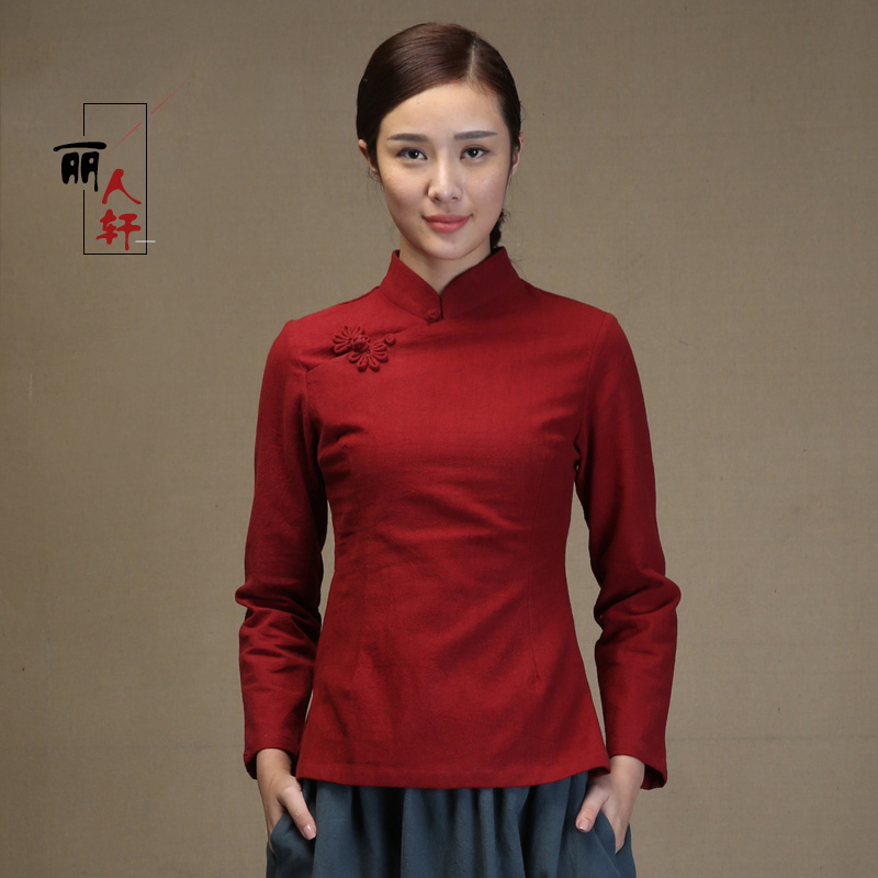 Sweet Cotton Flax Qipao Cheongsam Shirt - Claret