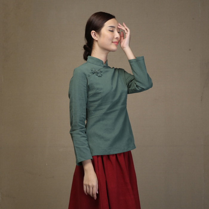 Sweet Cotton Flax Qipao Cheongsam Shirt - Green