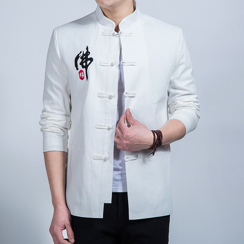 Fo Yuan Embroidery Frog Button Chinese Jacket - White