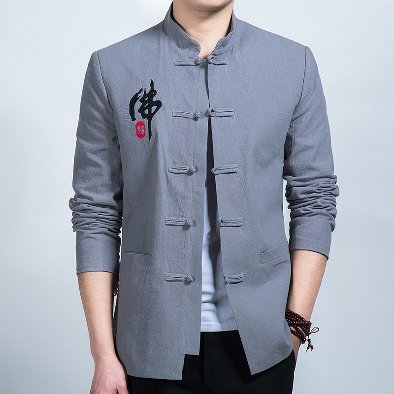 Fo Yuan Embroidery Frog Button Chinese Jacket - Gray