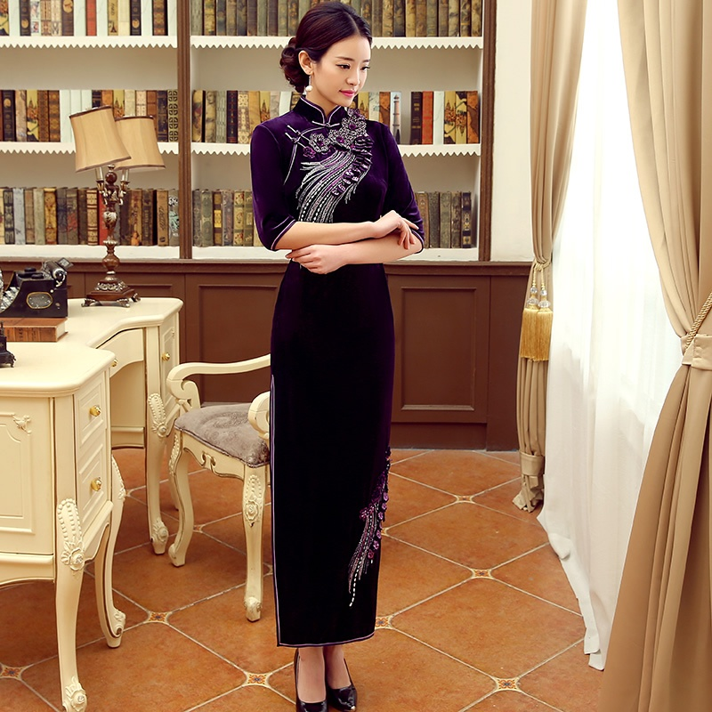 Lovely Beaded Embroidery Qipao Chinese Dress Cheongsam