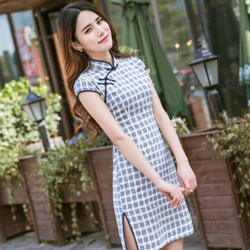 Lovable Plaid Chinese Dress Qipao Cheongsam - Blue