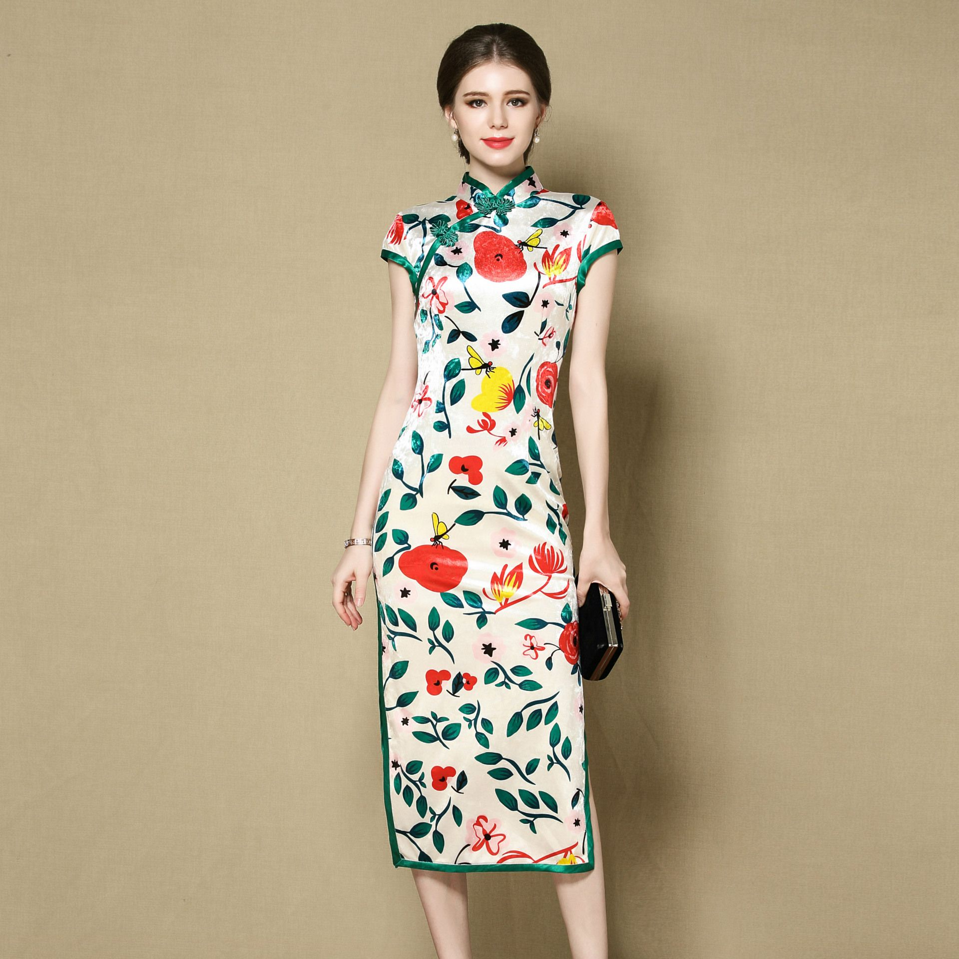 Beautiful Flower Print Velvet Qipao Cheongsam Dress