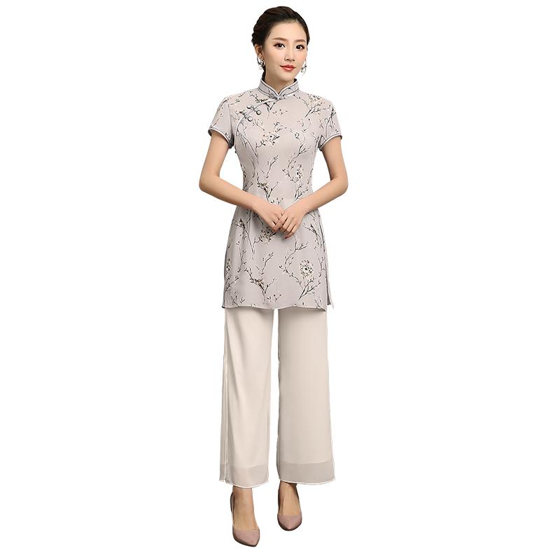Cute Floral Print Long Chinese Qipao Cheongsam Shirt