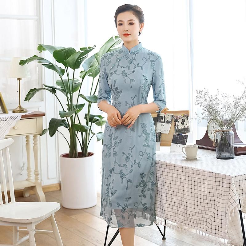 Floral Embroidery Chiffon Qipao Cheongsam Dress - Blue