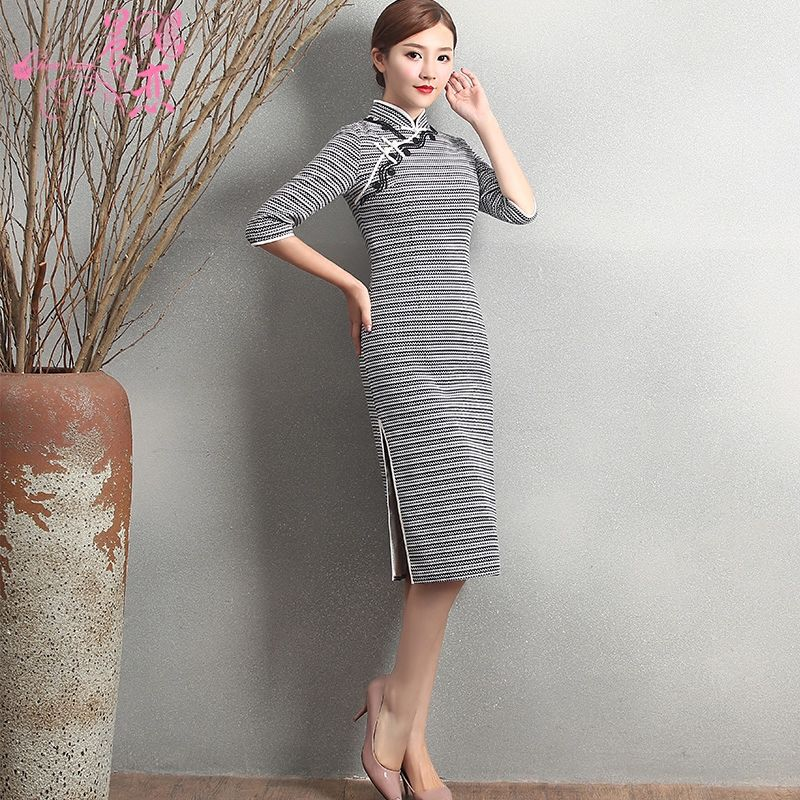 Beautiful Gray Stripe Chinese Dress Cheongsam Qipao