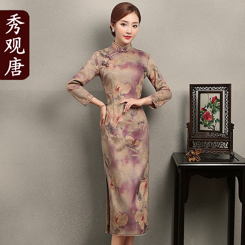 Lovely Print Faux Suede Cheongsam Qipao Chinese Dress
