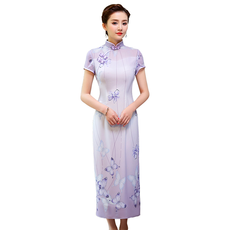 Happy Purple Butterflies Long Qipao Cheongsam Dress