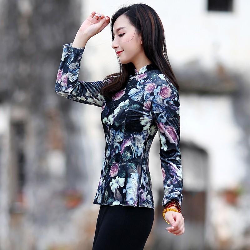 Adorable Floral Print Velvet Qipao Cheongsam Shirt