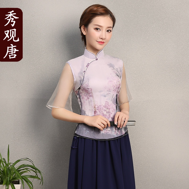 Lovely Stand-up Collar Silk Chiffon Chinese Shirt