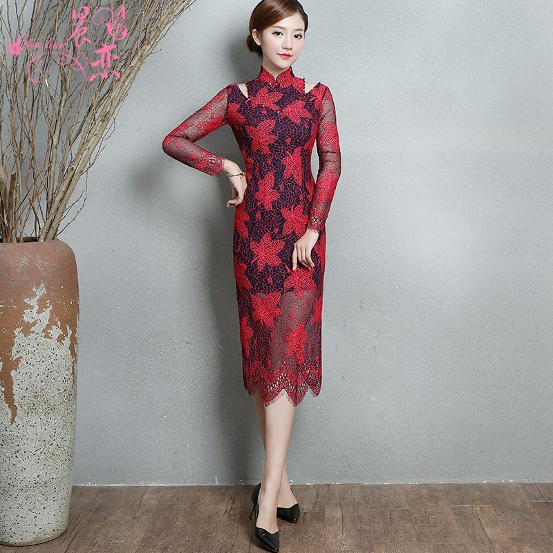 Gorgeous Modern Lace Chinese Dress Cheongsam Qipao