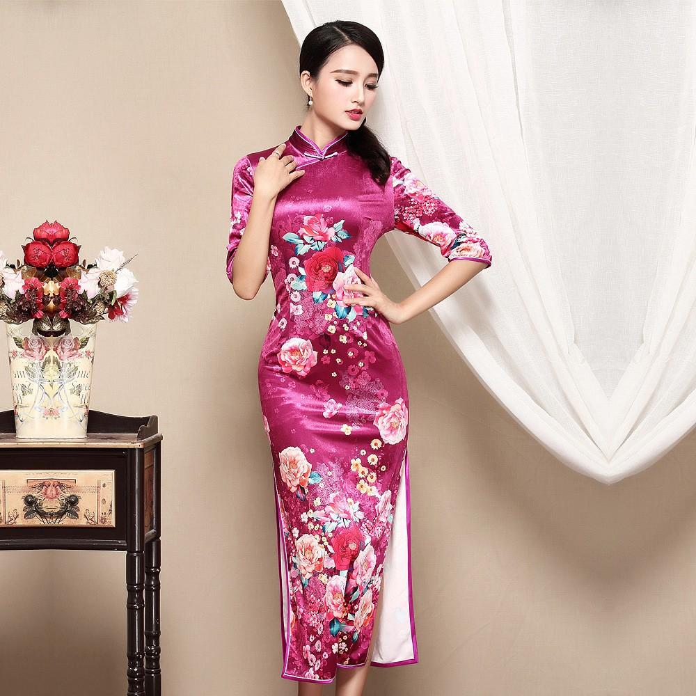 Impressive Floral Velvet Chinese Qipao Cheongsam Dress