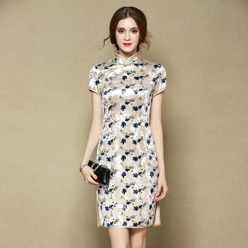 Lovely Floral Print Velvet Cheongsam Qipao Dress - Beige