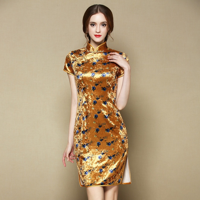 Lovely Floral Print Velvet Cheongsam Qipao Dress - Yellow