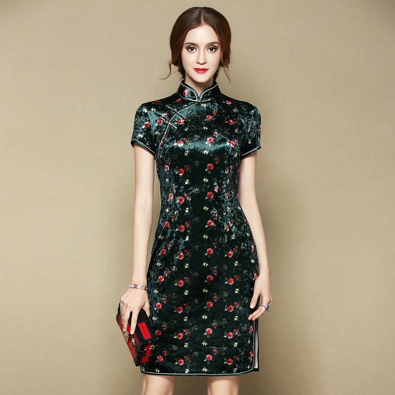 Lovely Floral Print Velvet Cheongsam Qipao Dress - Green