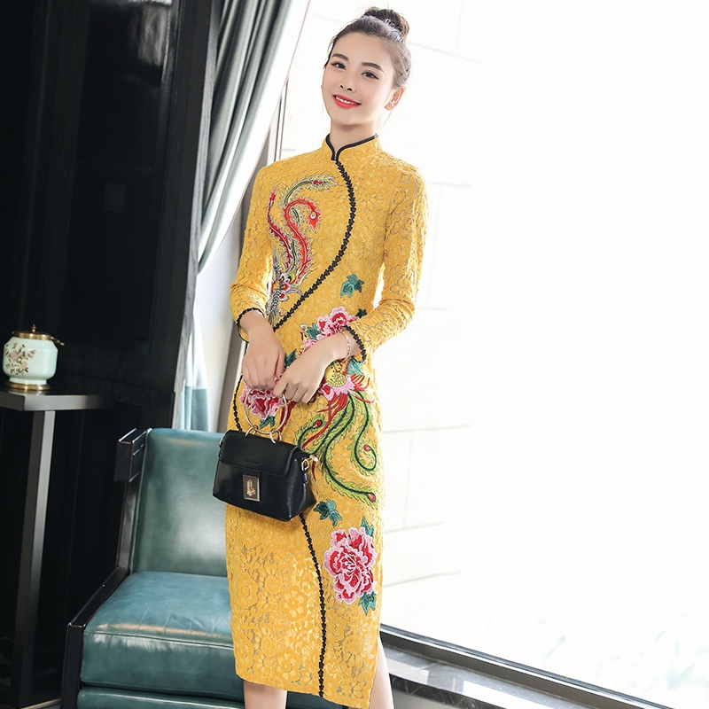Awesome Phoenix Embroidery Chinese Dress Qipao Cheongsam