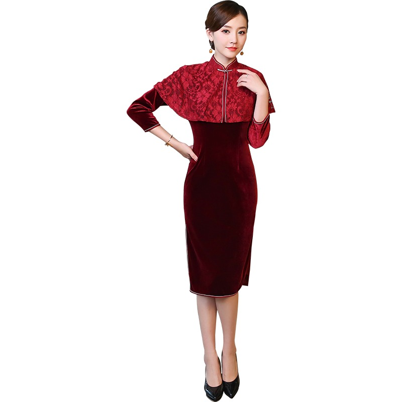 Charming Claret Velvet Qipao Cheongsam Chinese Dress