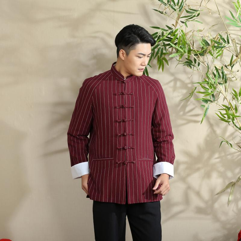 Vertical Striped Frog Button Chinese Tang Jacket - Claret