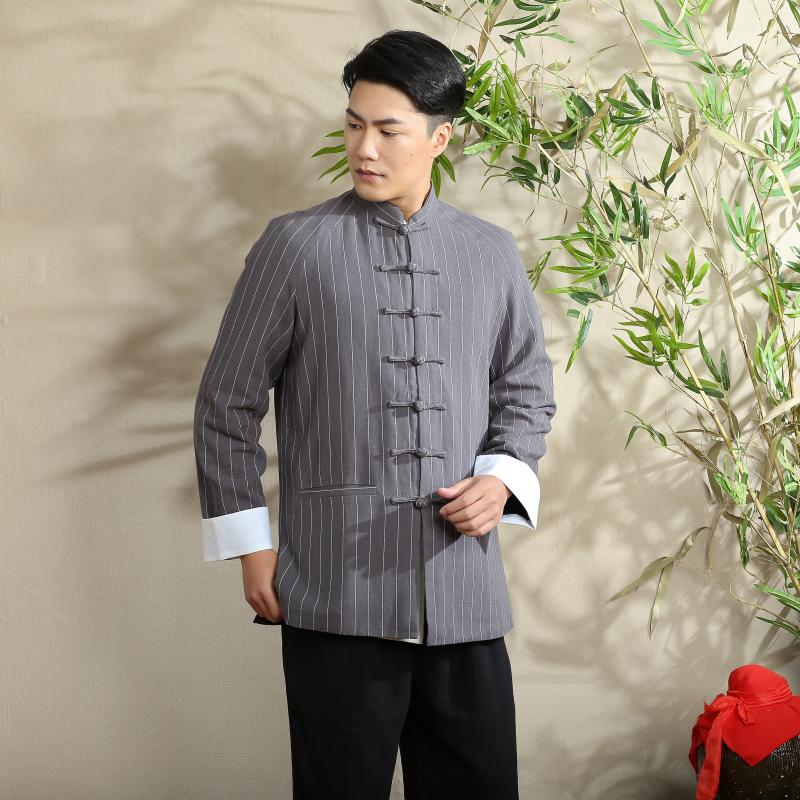 Vertical Striped Frog Button Chinese Tang Jacket - Gray