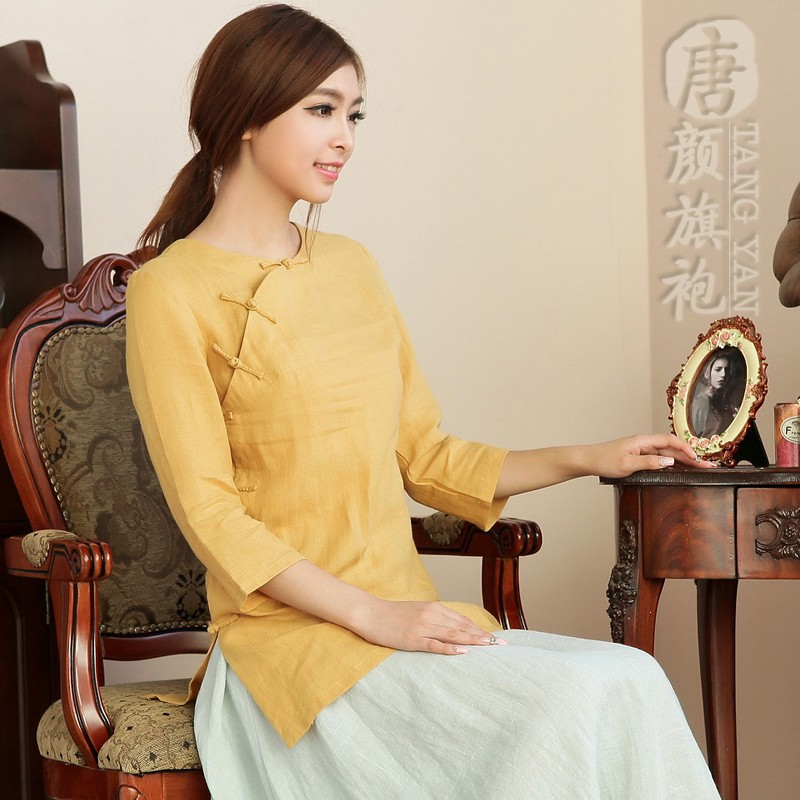 Attractive Scoop Neck Frog Button Shirt - Yellow
