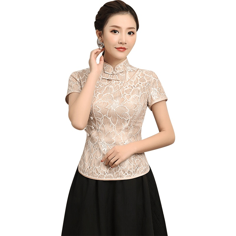 Appealing Floral Lace Short Qipao Cheongsam Shirt