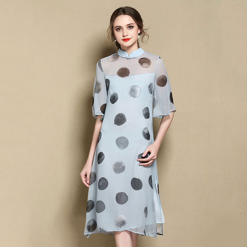 Beautiful Polka Dot Silk Qipao Cheongsam Style Dress