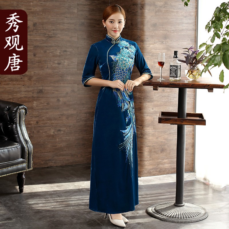 Splendid Phoenix Embroidery Chinese Dress Qipao Cheongsam
