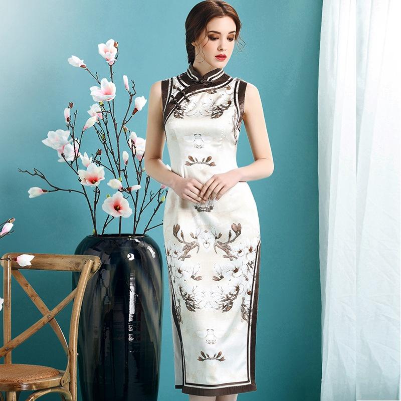 Impressive Floral Sleeveless Silk Qipao Cheongsam Dress