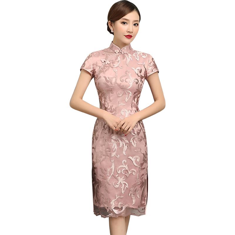 Charming Lace Knee Length Cheongsam Qipao Dress