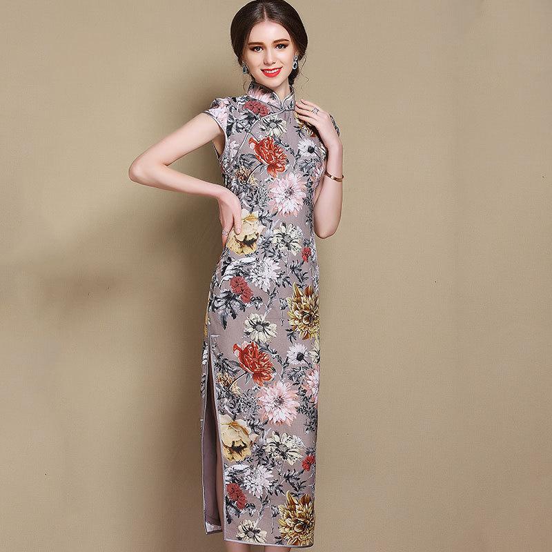 Gorgeous Peony Flowers Chinese Dress Qipao Cheongsam