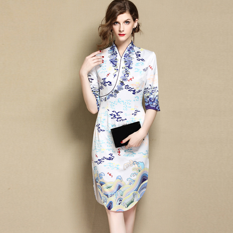 Fetching Clouds Print Qipao Cheongsam Style Dress