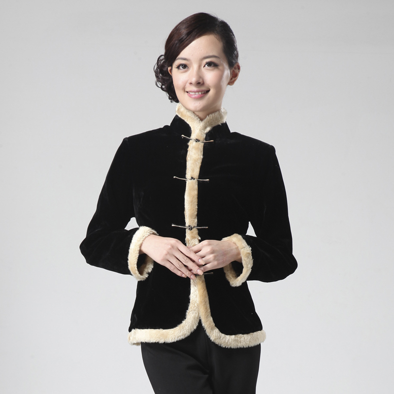 Attractive Frog Button Black Velvet Jacket - Chinese Jackets