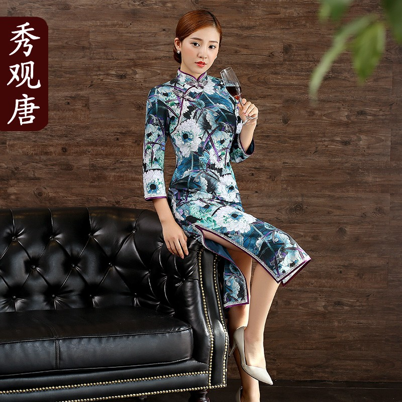 Splendid Lotus Flowers Cheongsam Qipao Chinese Dress