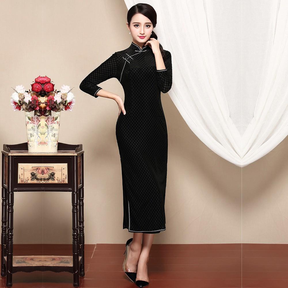 Stylish Flocked Velvet Chinese Qipao Cheongsam Dress